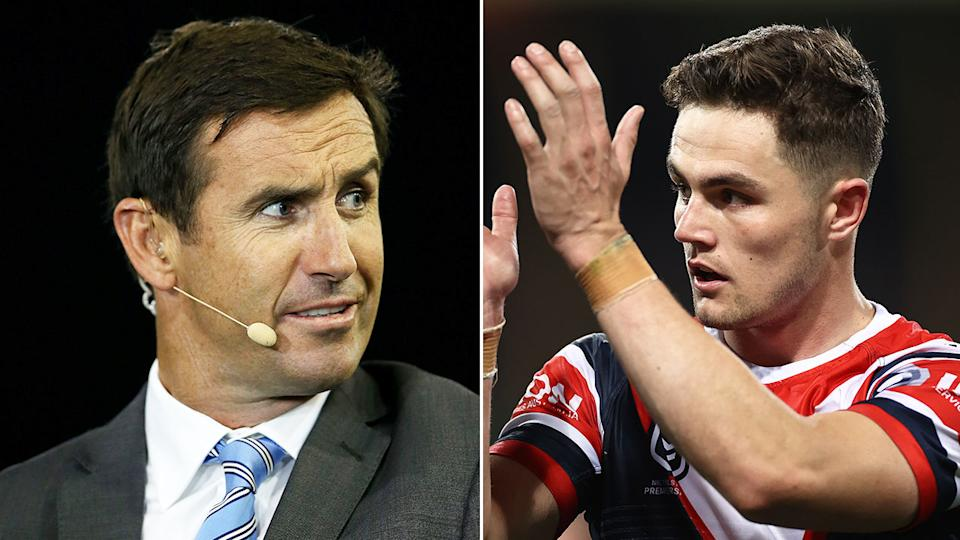 Pictured here, Andrew Johns and out-of-favour Roosters halfback Kyle Flanagan.