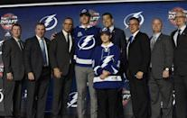 June 23, 2017; Chicago, IL, USA; Cal Foote poses for photos after being selected as the number fourteen overall pick to the Tampa Bay Lightning in the first round of the 2017 NHL Draft at the United Center. Mandatory Credit: David Banks-USA TODAY Sports