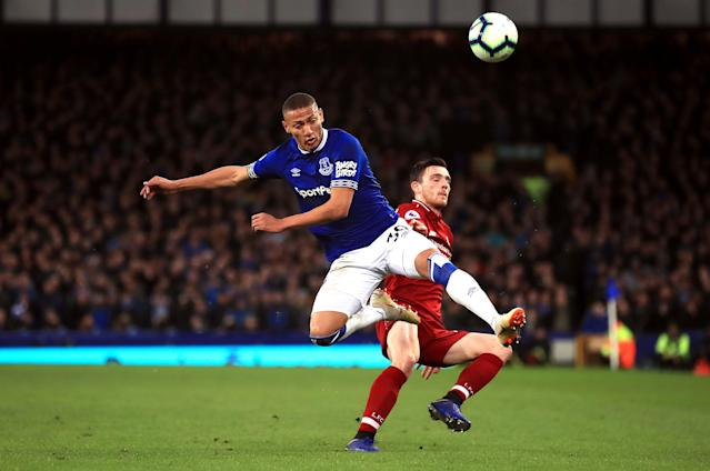 "Richarlison (left) and Everton couldn't find a goal against <a class=""link rapid-noclick-resp"" href=""/soccer/players/388313/"" data-ylk=""slk:Andrew Robertson"">Andrew Robertson</a> and Liverpool. (Getty)"