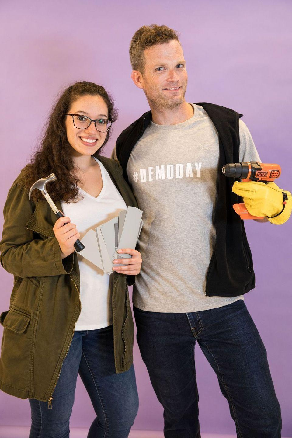 """<p>If you've got a pair of jeans, a jacket, and a toolkit, you have everything you need to transform into HGTV's <em>Fixer Upper</em> duo. Fair warning: Your friends may task you with some DIY projects at the party. </p><p><a class=""""link rapid-noclick-resp"""" href=""""https://www.amazon.com/Demo-Day-Demoday-House-Flipper-T-Shirt/dp/B07PJC2DCT?tag=syn-yahoo-20&ascsubtag=%5Bartid%7C10055.g.29516206%5Bsrc%7Cyahoo-us"""" rel=""""nofollow noopener"""" target=""""_blank"""" data-ylk=""""slk:SHOP #DEMODAY SHIRT"""">SHOP #DEMODAY SHIRT</a></p><p><a class=""""link rapid-noclick-resp"""" href=""""https://www.amazon.com/FASHION-BOOMY-Womens-Military-Anorak/dp/B01KPFKA0E/?tag=syn-yahoo-20&ascsubtag=%5Bartid%7C10055.g.29516206%5Bsrc%7Cyahoo-us"""" rel=""""nofollow noopener"""" target=""""_blank"""" data-ylk=""""slk:SHOP JACKET"""">SHOP JACKET</a></p><p><strong>RELATED:</strong> <a href=""""https://www.goodhousekeeping.com/holidays/halloween-ideas/a29212306/pop-culture-halloween-costumes/"""" rel=""""nofollow noopener"""" target=""""_blank"""" data-ylk=""""slk:The Best Pop Culture Costumes of 2020"""" class=""""link rapid-noclick-resp"""">The Best Pop Culture Costumes of 2020</a></p>"""