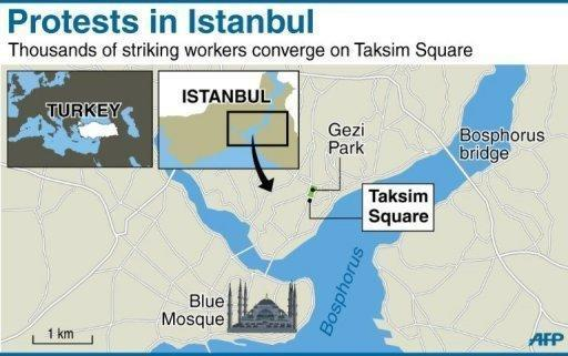 Map of Istanbul locating protests in Taksim Square. Turkish Prime Minister Recep Tayyip Erdogan is heading home from an overseas trip, defiantly vowing to press ahead with plans to redevelop a park that have prompted a week of violent protests he said were stoked by 'terrorists'