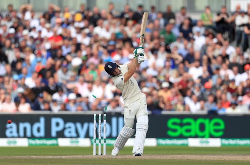 England's Jos Buttler is dismissed by Australia's Mitchell Starc (not pictured) to end the innings during day four of the fourth Ashes Test at Emirates Old Trafford, Manchester. (Photo by Mike Egerton/PA Images via Getty Images)