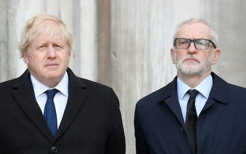Britain's Prime Minister Boris Johnson and Britain's opposition Labour Party leader Jeremy Corbyn attend a vigil - Credit: Reuters