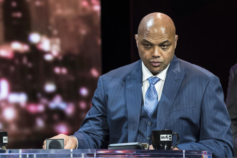 Charles Barkley looks disgruntled at his NBA on TNT desk.
