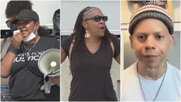Joi Hurst (left), Leslie McCurdy (centre) and Teajai Travis (right). All three activists feel that there is a loss in momentum for the movement. (Jennifer La Grassa/CBC - image credit)