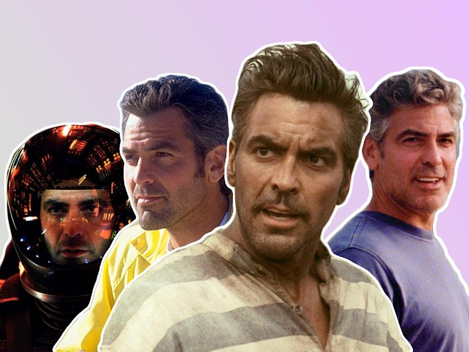 Transformative: George Clooney in (from left) 'Solaris', 'Out of Sight', 'O Brother, Where Art Thou?' and 'The Descendants' (Fox/Universal)