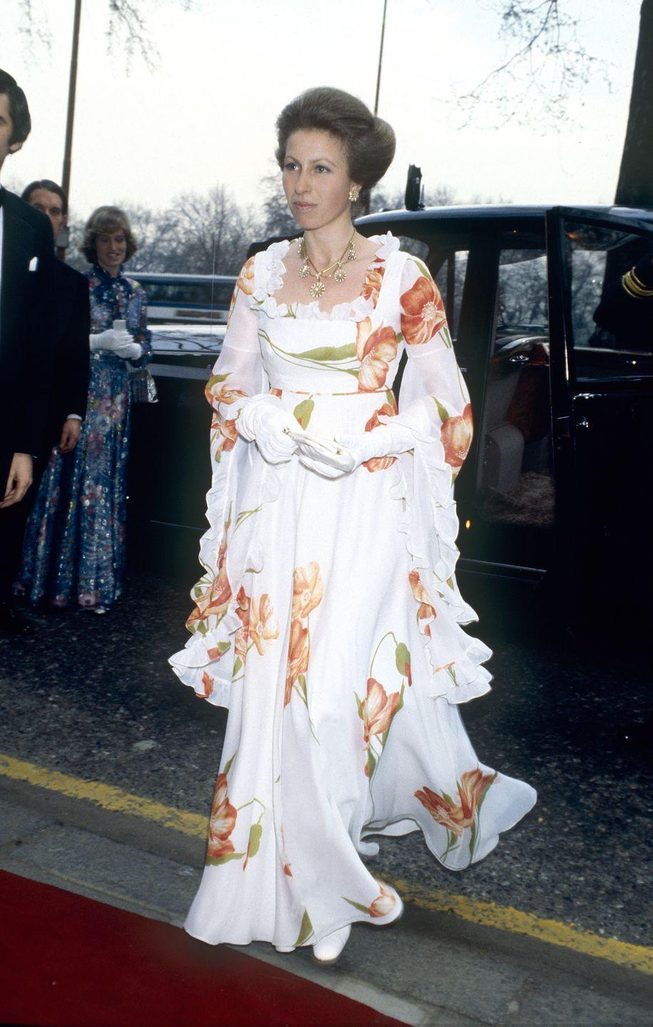<p>Princess Anne, the Queen's only daughter, wore a floral ruffled gown for an event at the Dorchester Hotel in London. The Princess finished the look off with elegant white evening gloves. </p>