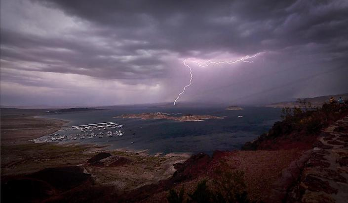 A lightning strike is seen in an aerial view of Lake Mead