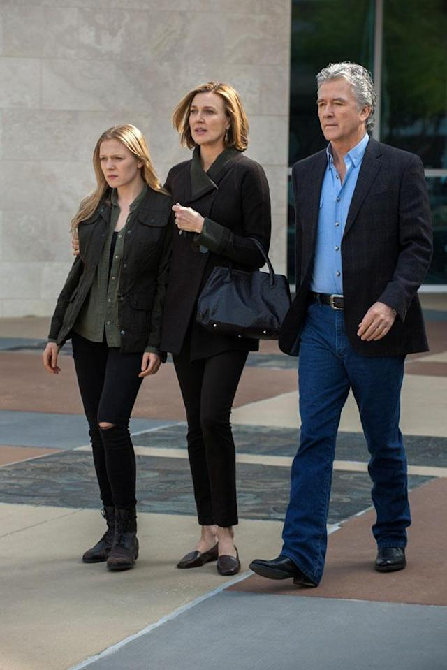 "Emma Bell, Brenda Strong and Patrick Duffy in the ""Dallas"" Season 2 episode, ""Guilt by Association."""