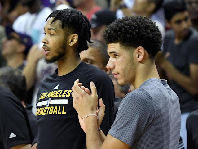 "Brandon Ingram (L) and <a href=""https://sports.yahoo.com/nba/players/5764"" data-ylk=""slk:Lonzo Ball"" class=""link rapid-noclick-resp""><a class=""link rapid-noclick-resp"" href=""/ncaab/players/136151/"" data-ylk=""slk:Lonzo Ball"">Lonzo Ball</a></a> are expected to be the Lakers' future. (Getty)"