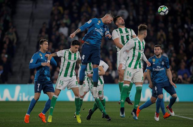 Soccer Football - La Liga Santander - Real Betis vs Real Madrid - Estadio Benito Villamarin, Seville, Spain - February 18, 2018 Real Madrid's Sergio Ramos scores their second goal REUTERS/Jon Nazca TPX IMAGES OF THE DAY