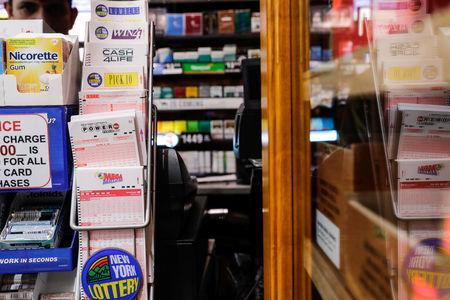 Powerball tickets display at a store in New York City, U.S., March 17, 2017. REUTERS/Jeenah Moon