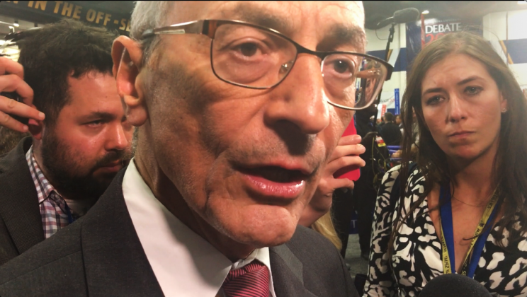 John Podesta speaking in the spin room at the second presidential debate, held at Hofstra University. (Photo: Yahoo News)