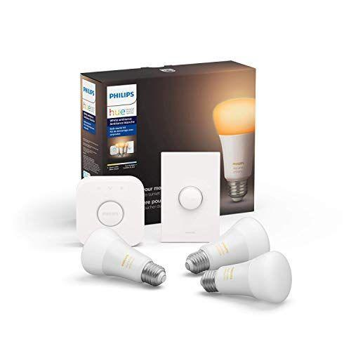 """<p><strong>Philips Hue</strong></p><p>amazon.com</p><p><strong>$119.99</strong></p><p><a href=""""https://www.amazon.com/dp/B07XH4KDR9?tag=syn-yahoo-20&ascsubtag=%5Bartid%7C10067.g.13094996%5Bsrc%7Cyahoo-us"""" rel=""""nofollow noopener"""" target=""""_blank"""" data-ylk=""""slk:Shop Now"""" class=""""link rapid-noclick-resp"""">Shop Now</a></p><p>This kit turns your lights into smart devices, offering control through Alexa, Apple HomeKit, and Google Assistant.</p>"""