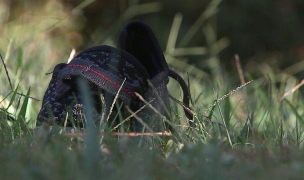 PHOTO: A lost shoe is pictured outside the scene where a homeowner shot and killed three men who were wearing masks early Monday morning on Sept. 16, 2019, in Rockdale County, Ga. (WSB-TV)