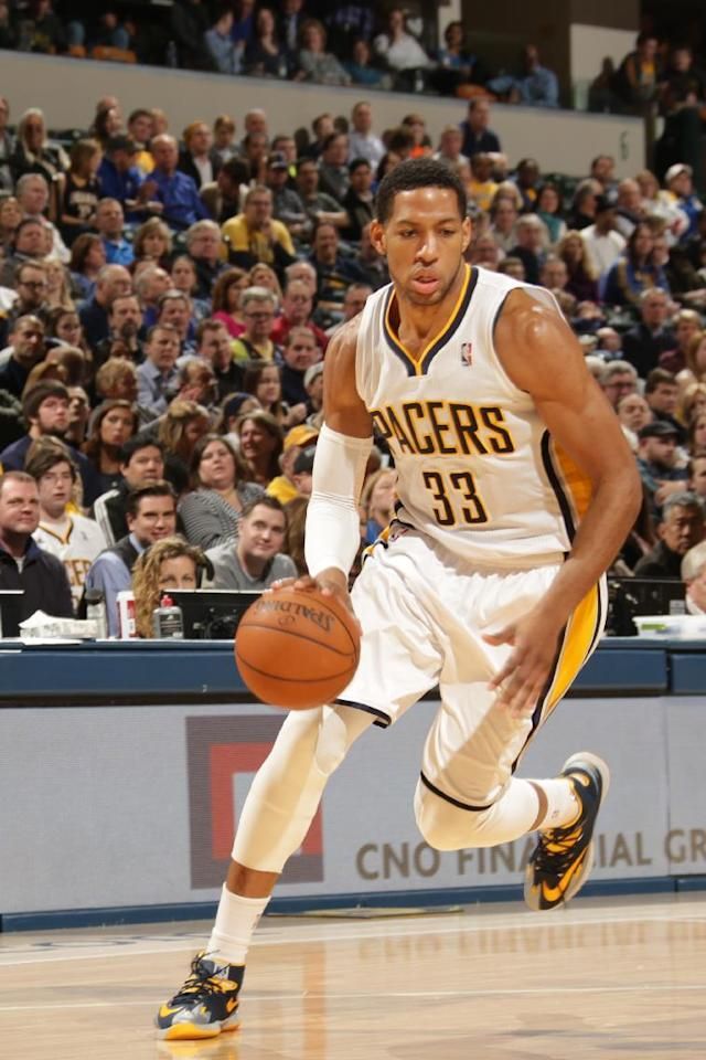 INDIANAPOLIS - FEBRUARY 3: Danny Granger #33 of the Indiana Pacers dribbles the ball against the Orlando Magic at Bankers Life Fieldhouse on February 3, 2014 in Indianapolis, Indiana. (Photo by Ron Hoskins/NBAE via Getty Images)