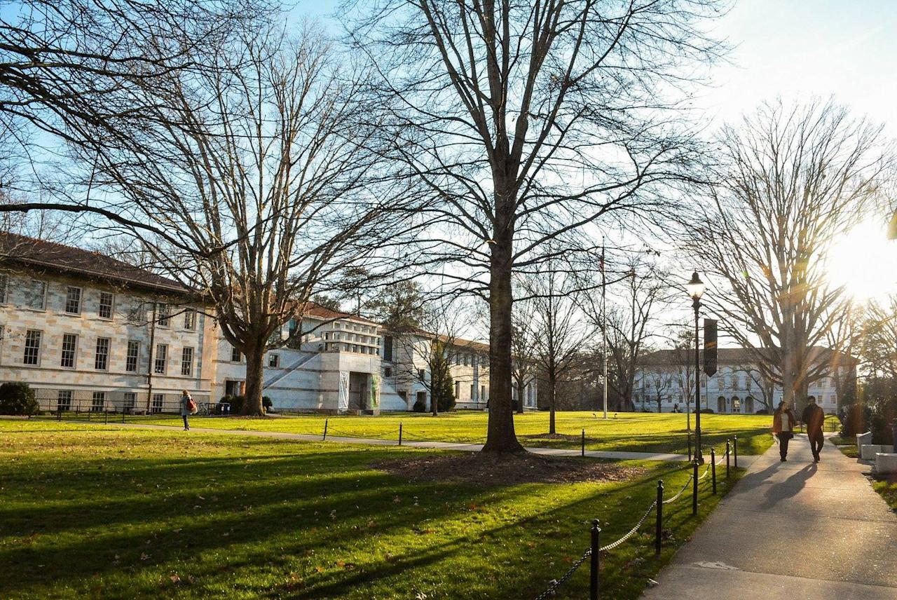 """<p>The university is the site of the <a href=""""https://www.architecturaldigest.com/story/stranger-things-filming-locations-are-just-as-spooky-in-real-life"""" target=""""_blank"""">former Georgia Mental Health Institute</a>, and on the show it's used as the Hawkins National Laboratory.<br></p>"""