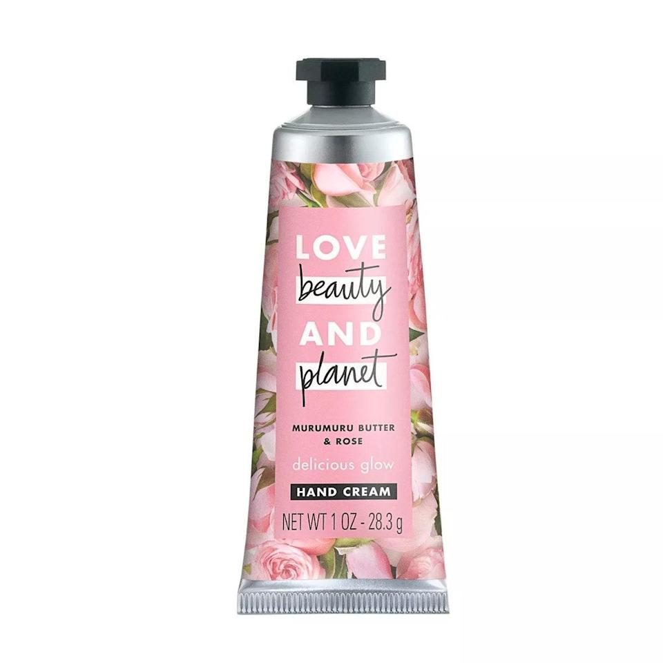 """I'm a sucker for rose scents, but I'm also extremely particular about them. They can't be too sweet, too floral, or too strong. This ethically sourced option from sustainable beauty brand Love Beauty and Planet hits all the right notes. Massage your hands with a generous dollop and let the murumuru butter do its thing. <em>—L.S.</em> $5, Love Beauty and Planet. <a href=""""https://www.target.com/p/love-beauty-and-planet-rose-hand-cream-1oz/-/A-76628576#lnk=sametab"""" rel=""""nofollow noopener"""" target=""""_blank"""" data-ylk=""""slk:Get it now!"""" class=""""link rapid-noclick-resp"""">Get it now!</a>"""