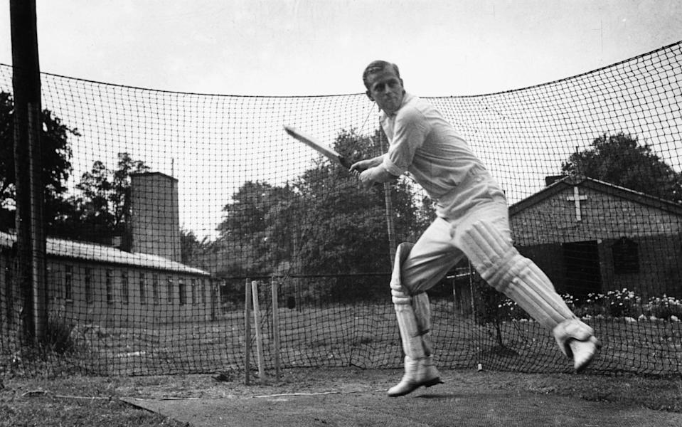 Philip Mountbatten, prior to his marriage to Princess Elizabeth, batting at the nets during cricket practice while in the Royal Navy, July 31st 1947 - Douglas Miller