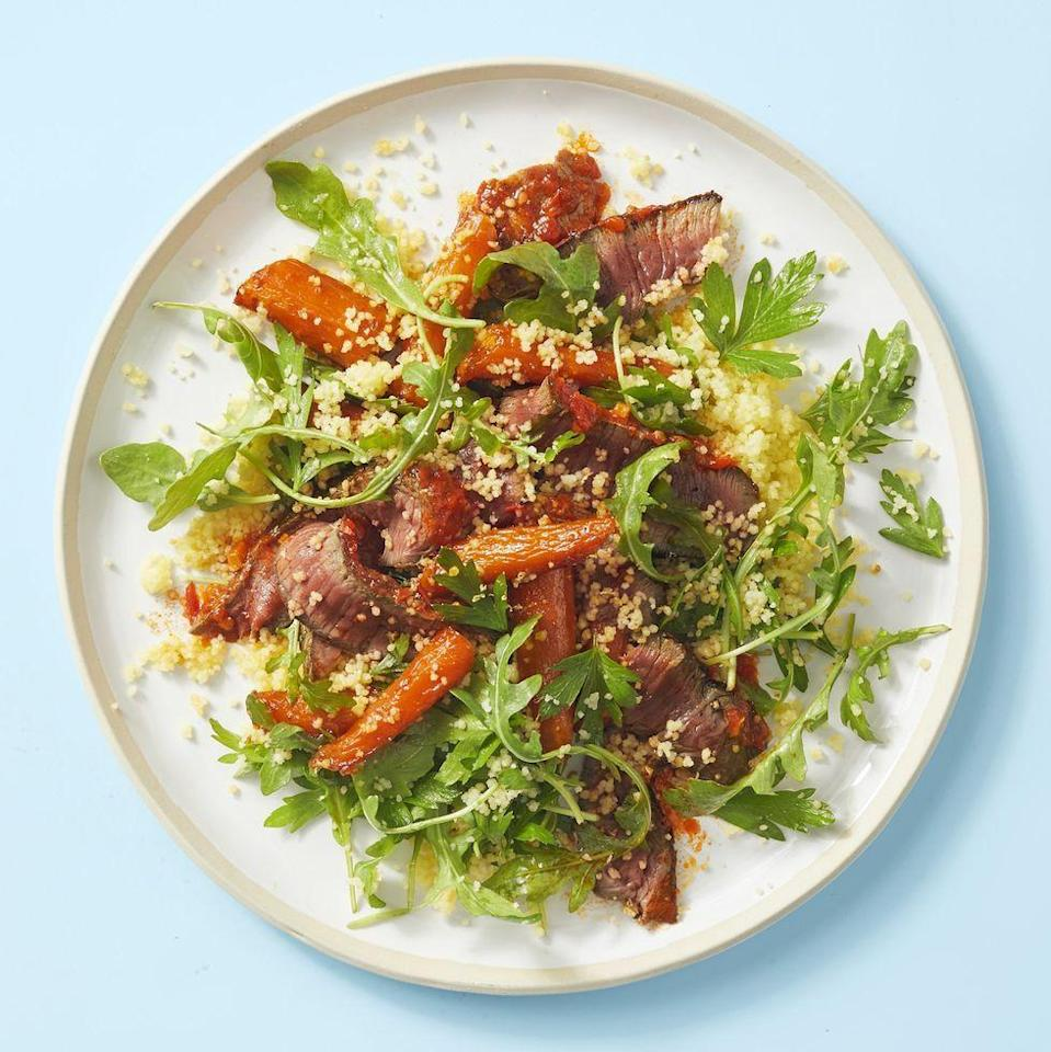 "<p>For a heartier packed meal, this steak salad with couscous, carrots, and arugula will fill you up without weighing down your picnic basket.</p><p><em><a href=""https://www.goodhousekeeping.com/food-recipes/a30392206/harissa-sirloin-with-couscous-salad-recipe/"" rel=""nofollow noopener"" target=""_blank"" data-ylk=""slk:Get the recipe for Harissa Sirloin With Couscous Salad »"" class=""link rapid-noclick-resp"">Get the recipe for Harissa Sirloin With Couscous Salad »</a></em></p>"