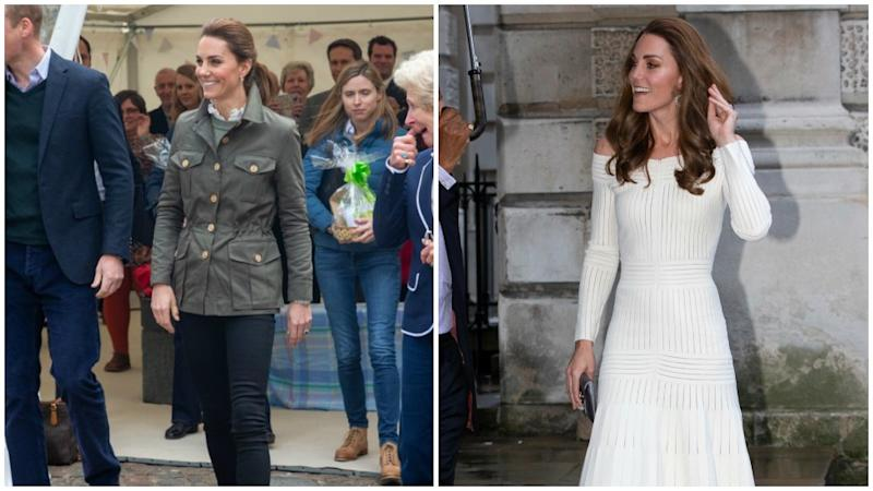Kate Middleton at a pig farm on the left and a gala dinner on the right