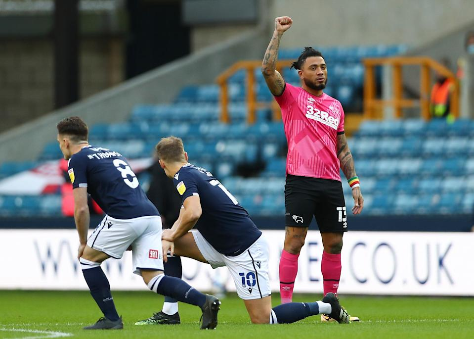 Colin Kazim-Richards of Derby County raises his right fist (Getty Images)