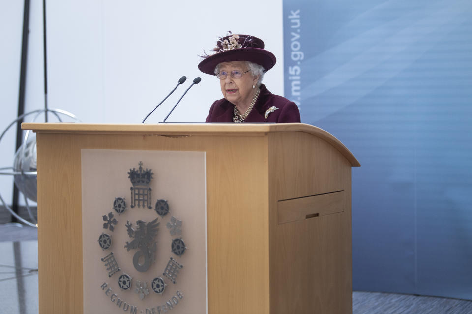 Queen Elizabeth II speaks during a visit to the headquarters of MI5 at Thames House in London.