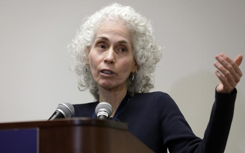 LOS ANGELES, CA -- MARCH 10, 2020: Dr. Barbara Ferrer is the director of the Los Angeles County Department of Public Health. She gives her daily update on Tuesday. (Myung J. Chun / Los Angeles Times)