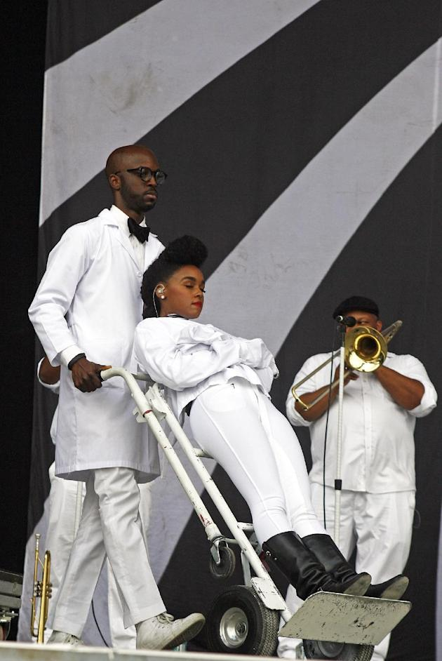 Janelle Monae is wheeled onstage at Bonnaroo [photo: Wade Payne/Invision/AP]