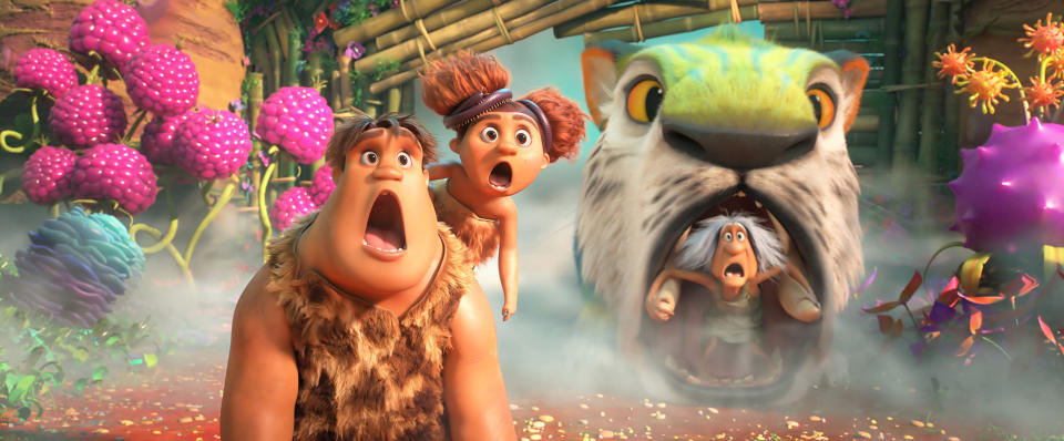 """In this image provided by DreamWorks Animation, is Thunk Crood, from left, (Clark Duke), Sandy Crood (Kailey Crawford) and Gran (Cloris Leachman) in DreamWorks Animation's """"The Croods: A New Age,"""" directed by Joel Crawford. The movie was released at Thanksgiving 2020. (DreamWorks Animation LLC via AP)"""