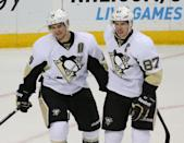 Pittsburgh Penguins' Chris Kunitz, left, celebrates his power-play goal with Sidney Crosby, right, in the second period of an NHL hockey game against the Minnesota Wild, Tuesday, Nov. 4, 2014, in St. Paul, Minn. Pittsburgh won 4-1. (AP Photo/Bruce Bisping)