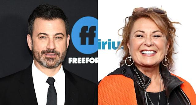 Jimmy Kimmel and Rosanne Barr. (Photo: Getty Images)