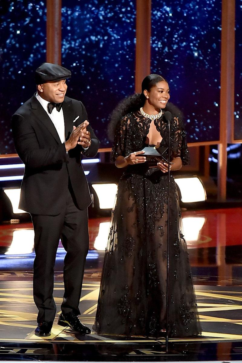 Actors LL Cool J and Gabrielle Union speak onstage during the 69th Annual Primetime Emmy Awards at Microsoft Theater on Sept. 17, 2017 in Los Angeles, California.