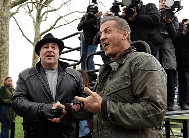 Sylvester Stallone at the Rocky statue in Philadel