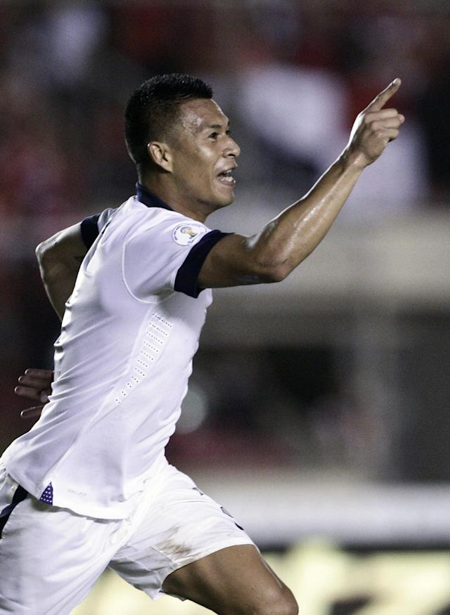 Michael Orozco of the U.S. celebrates after score a goal against Panama during a 2014 World Cup qualifying soccer match in Panama City, Tuesday, Oct. 15, 2013. (AP Photo/Arnulfo Franco)