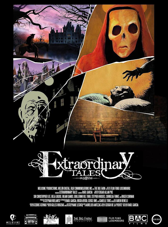 <p>Guillermo del Toro (director of <em>Hellboy) </em>and some of the most famous voices of horror films--including that of the late Bela Lugosi (<em>Count</em> <em>Dracula</em>, 1931)--narrate episodes of Netflix's animated series <em>Extraordinary Tales.</em> Each episode is based on famous stories from author Edgar Allan Poe's darkest works.</p>