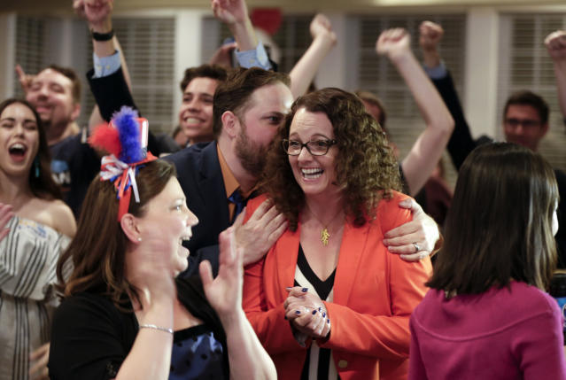 Kara Eastman with supporters in Omaha, Neb., Tuesday, May 15, 2018. (Photo: Nati Harnik/AP)