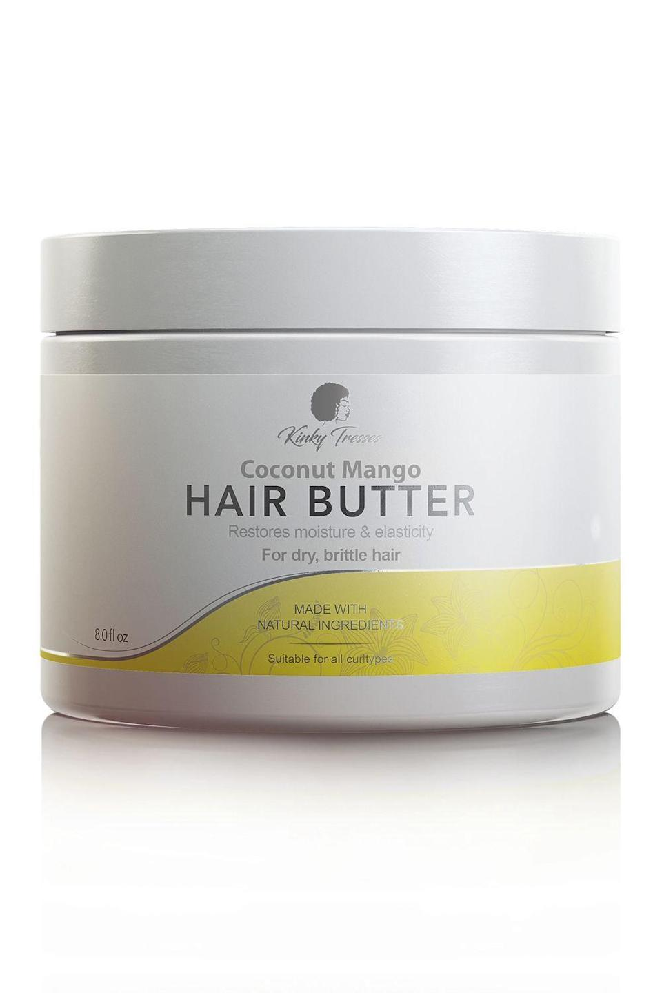 """<p>kinkytresses.com</p><p><strong>$16.00</strong></p><p><a href=""""https://kinkytresses.com/collections/all/products/coconut-mango-hair-butter-4-oz"""" rel=""""nofollow noopener"""" target=""""_blank"""" data-ylk=""""slk:Shop Now"""" class=""""link rapid-noclick-resp"""">Shop Now</a></p><p>The combo of mango and shea butter in this Black-owned hair product make it smell good enough to eat (please don't do that though) while also <strong>infusing your hair with much-needed moisture.</strong> You can also use this non-greasy butter a couple of different ways: Work it through your hair when your curls are feeling rough or use it to seal your <a href=""""https://www.cosmopolitan.com/style-beauty/beauty/a26800557/twist-out-how-to/"""" rel=""""nofollow noopener"""" target=""""_blank"""" data-ylk=""""slk:two-strand twists"""" class=""""link rapid-noclick-resp"""">two-strand twists</a>. </p>"""