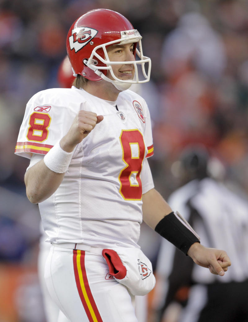 Kansas City Chiefs quarterback Kyle Orton (8) reacts after a first down against the Denver Broncos in the second quarter of an NFL football game, Sunday, Jan. 1, 2012, in Denver.  (AP Photo/Joe Mahoney)