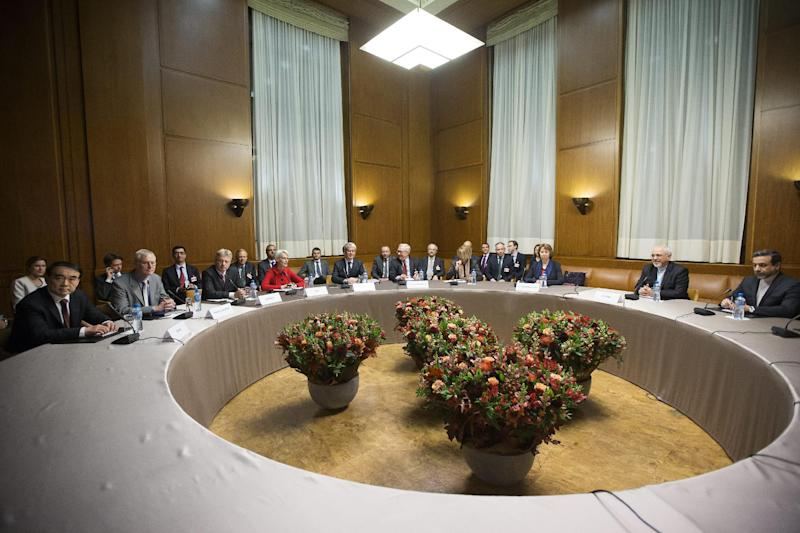 A general view shows participants before the start of three days of closed-door nuclear talks in Geneva, Switzerland, Wednesday, Nov. 20, 2013. (AP Photo/Keystone,Salvatore Di Nolfi)
