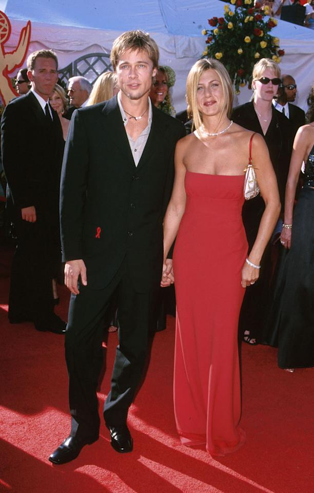 Brad Pitt and Jennifer Aniston at the 52nd Annual Emmy Awards in Los Angeles on September 10, 2000.