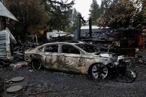 PHOTO: A car sits among the remains of Bill Kesselring's,72, home in the aftermath of the Beachie Creek Fire near Gates, Oregon, Sept. 18, 2020. (Shannon Stapleton/Reuters)