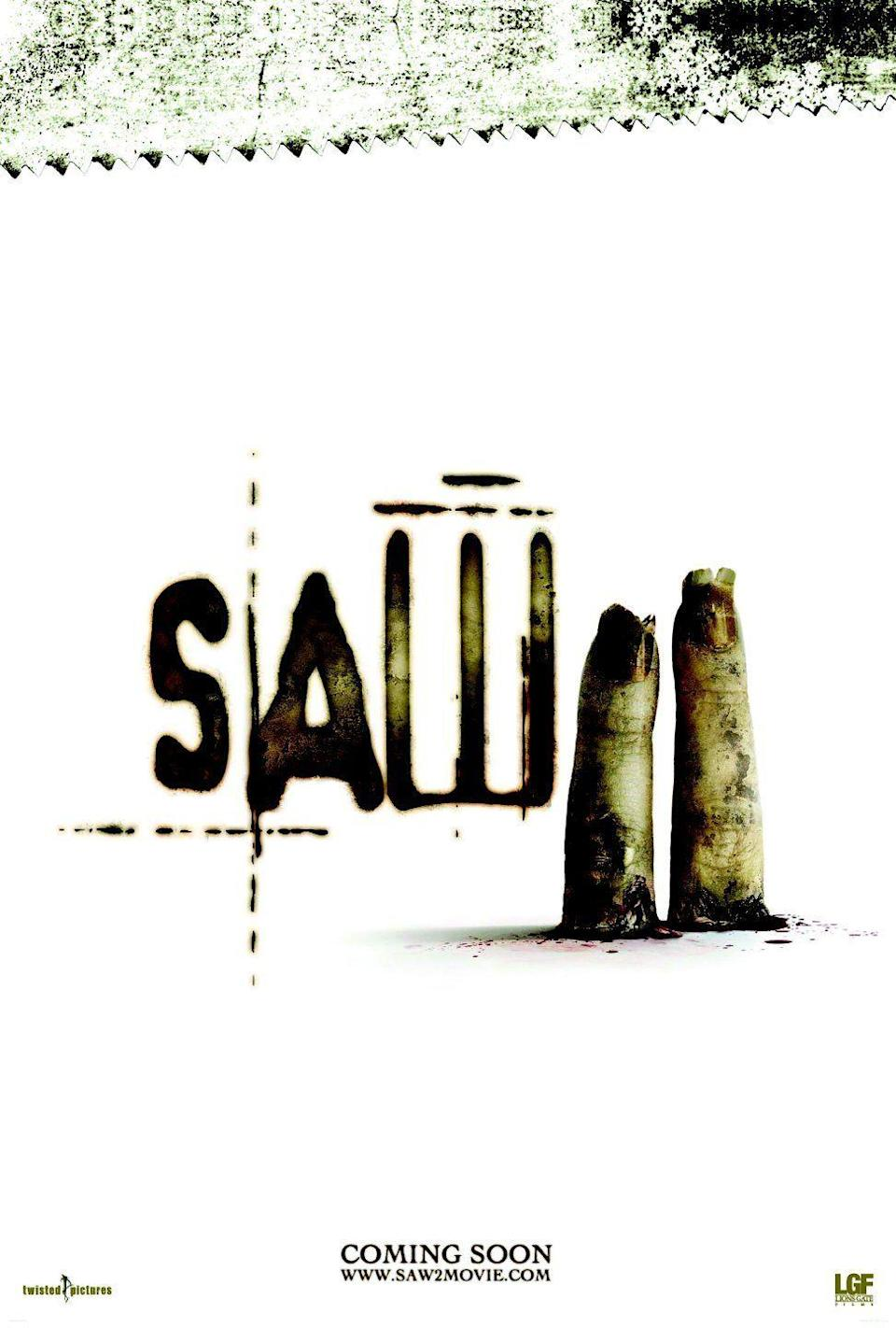 <p><b>Why it was banned: </b>The 'Saw' franchise got away with far more violent acts in its time than the relatively tame lopping off of a couple of fingers, but the MPAA drew the line at this sparse poster, which it decided was too upsetting to be displayed in US cinemas.</p>