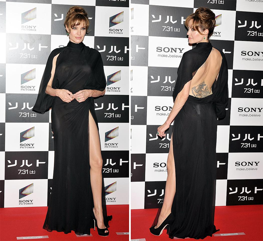 """Angelina Jolie wore this dress with a peekaboo back to a """"Salt"""" premiere."""
