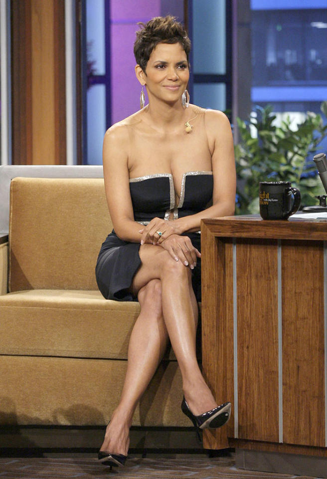 THE TONIGHT SHOW WITH JAY LENO -- Episode 4421 -- Pictured: Actress Halle Berry during an interview on March 11, 2013 -- (Photo by: Margaret Norton/NBC/NBCU Photo Bank via Getty Images)