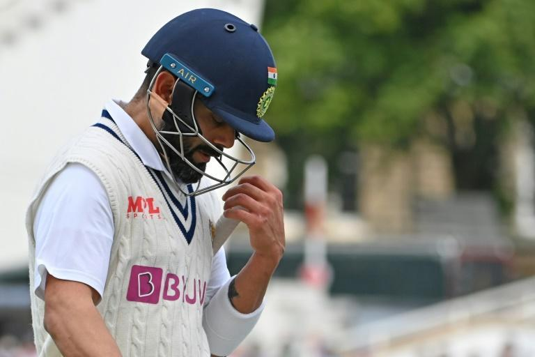 First-ball nought - India captain Virat Kohli walks off after getting out to James Anderson for a golden duck in the first Test at Trent Bridge on Thursday