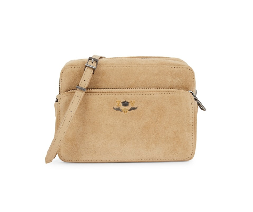 Zadig & Voltaire Boxy 'Blason' Suede Shoulder Bag in Taupe (Photo via Saks Off Fifth)