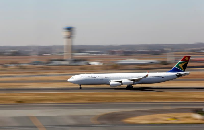 FILE PHOTO: A South African Airways Airbus A340 plane prepares to take off at the O. R. Tambo International Airport in Kempton Park