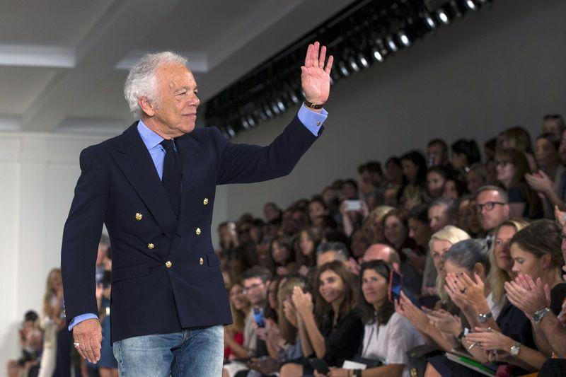 Designer Ralph Lauren greets the crowd after presenting his Spring/Summer 2016 collection during New York Fashion Week in New York