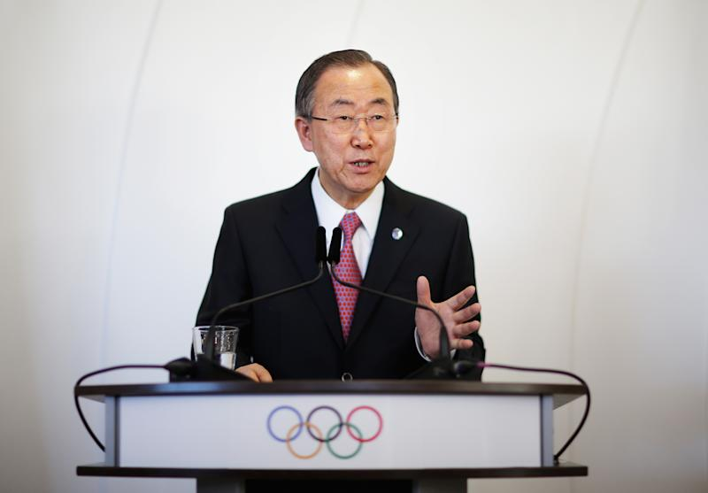 United Nations Secretary-General Ban Ki-moon speaks at a news conference following his address to the International Olympic Committee's general assembly ahead of the upcoming 2014 Winter Olympics, Thursday, Feb. 6, 2014, in Sochi, Russia. It was the first time a U.N. secretary-general delivered a keynote address to the IOC's general assembly. (AP Photo/David Goldman)